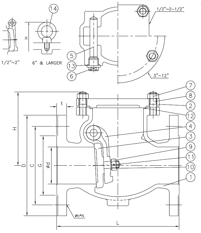 check valve, ansi 150 lb